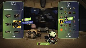LittleBigPlanet Karting - The Pod has been expanded into a large, cardboard spaceship, where the Sackboy and the cart can be customised.