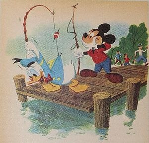 Look Mickey - Lichtenstein used this image from Donald Duck Lost and Found (illustrated by Bob Grant and Bob Totten) for Look Mickey.