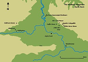 Coldrum Long Barrow - Image: Map of the Medway Megaliths