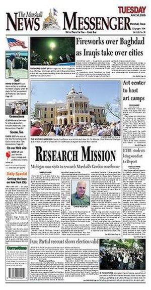 The Marshall News Messenger - Image: Marshall News Messenger front cover