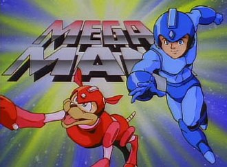 Mega Man (1994 TV series) - Mega Man title card with Mega Man and Rush.
