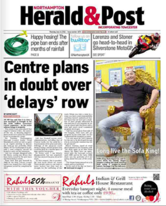 Northampton Herald & Post - Old front page format prior to 11 July 2013