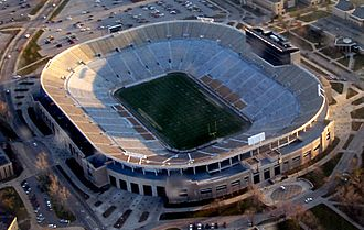 Notre Dame Stadium - Aerial view from northeast in July 2009