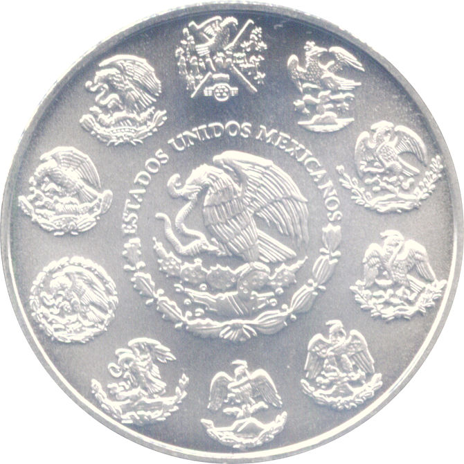 Ounce Silver Libertad coin, New Series (Obverse).