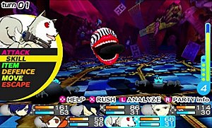 Persona Q: Shadow of the Labyrinth - The player controls characters from Persona 3 and Persona 4, and battle Shadows by using Personas.