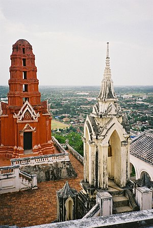 Phetchaburi - Picture taken from atop Khao Wang, in the palace compound, looking down on Phetchaburi