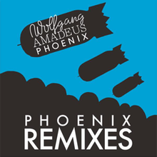 "A silhouette line drawing of black bombs falling on a blue background with ""Wolfgang AMADEUS PHOENIX"" written on one of the bombs and ""PHOENIX REMIXES"" written at the bottom in white."