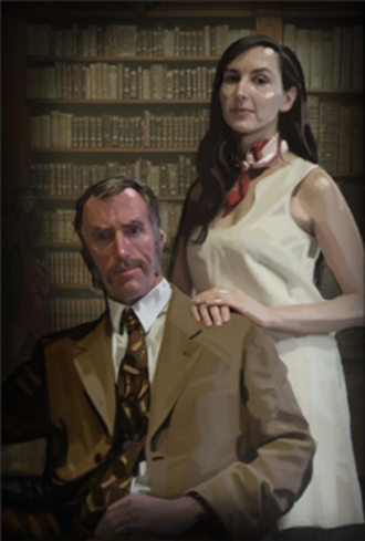 Cave Johnson (Portal) - Cave Johnson (left) and his assistant, Caroline (right) as they appear in Portal 2.