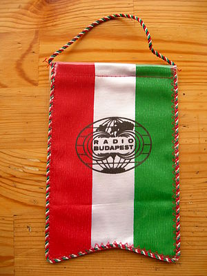 Shortwave radio - A pennant sent to overseas listeners by Radio Budapest in the late 1980s