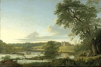"""Thomas Roberts (painter) - """"Landscape with Slane Castle"""" Oil on canvas, 16 x 23½ in, 40.5 x 60 cm, 1773. Exhibited at Pyms Gallery, 1999."""