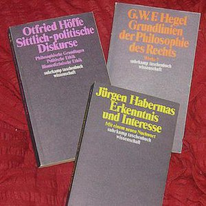 Suhrkamp Verlag - The suhrkamp taschenbuch wissenschaft series was started in 1973 with Habermas's Erkenntnis und Interesse (Knowledge and Human Interests) (1968). The other two books pictured here are by Hegel and Otfried Höffe respectively.