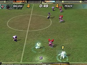 Super Mario Strikers - Opponents can be frozen by blue shells with the score tied between Waluigi and Peach.