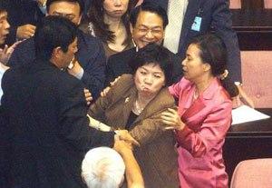Legislative violence - DPP deputy Wang Shu-hui chewing up a proposal to halt voting on  direct transport links with Mainland China.