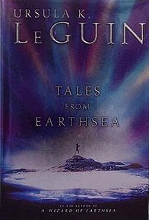 "<i>Tales from Earthsea</i> fantasy fiction collection by Ursula K. Le Guin, 5 stories 1998 to 2001 with fictional reference ""A Description of Earthsea"""