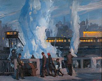 Wilbur G. Adam - The Elevated (1926) by Wilbur G. Adam. Oil on canvas. 27.5 x 34.5 in. First exhibited at Annual Exhibition of Art Institute of Chicago in 1927. Auctioned in 2011.