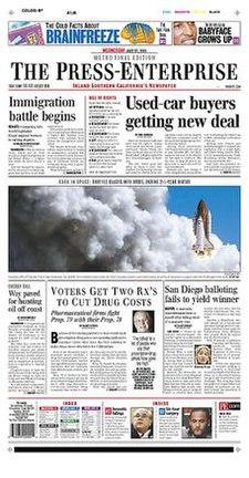 La Press-Enterprise-antaŭa page.jpg
