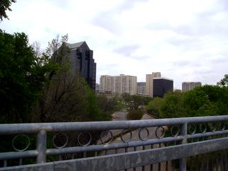 Katy Trail (Dallas) - Looking down at Cedar Springs Road from a Katy Trail pedestrian bridge