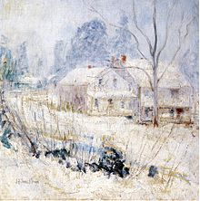 Country House in Winter, Cos Cob, av John Henry Twachtman, cirka 1901