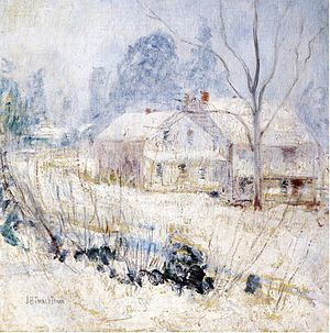 Cos Cob, Connecticut - Country House in Winter, Cos Cob, by John Henry Twachtman, circa 1901