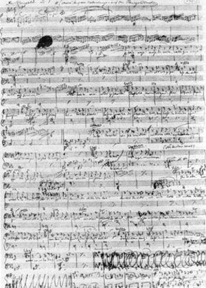 Der Ring des Nibelungen: Composition of the music - A page from Wagner's autograph score of Das Rheingold
