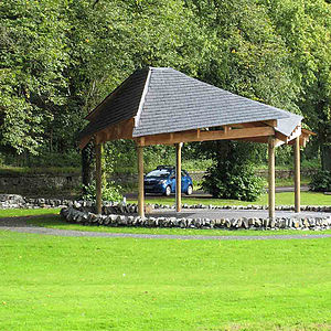 British brass band - Jedforest Instrumental Bandstand, built in 2006, stands in the shadow of Jedburgh Abbey Scottish Borders