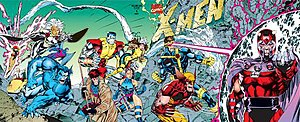 The multiple, interlocking covers of X-Men #1 (1991) boosted sales. Art by Jim Lee.