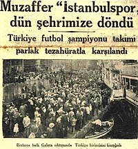 A newspaper headline about the return of Turkish champions Istanbulspor to Istanbul on 22 October 1932