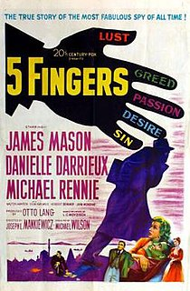 <i>5 Fingers</i> 1952 American spy film directed by Joseph L. Mankiewicz