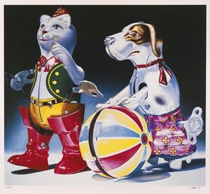 Hyperrealism (visual arts) - Charles Bell, Circus Act, Silkscreen on Paper, Smithsonian American Art Museum, 1995