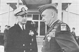 Bernard A. Clarey -  As commander of the Second Fleet (left), discussing Joint Operation Clove Hitch III with XVIII Airborne Corps commander, Lieutenant General John L. Throckmorton (right), April 1967.