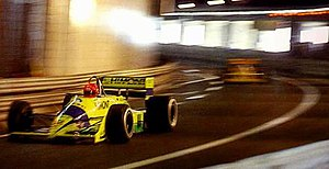 Scuderia Coloni - The 1989 Monaco Grand Prix was the only race in which two Colonis qualified. Raphanel leads Piquet through the tunnel.