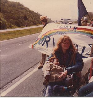 Peace walk - Donna Bradley and her son on A Walk For Survival, Oregon Coast, April 22, 1980