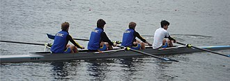 Eton Racing Boats - A crew from St Edward's School warming up in a four.