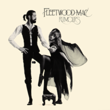 "Mostly cream album cover with black-and-white image of tall, bearded gentleman holding a snow globe in front of a blonde, cape-wearing woman. In the top right-hand corner, it is captioned ""FLEETWOOD MAC"" and ""RUMOURS"" below it."