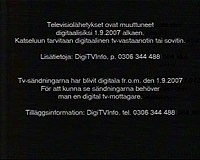 Notice on Finnish analog TV, telling people about the shutdown.