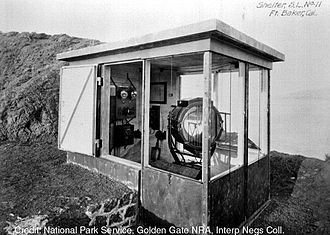 Board of Fortifications - Fire control searchlight at Fort Baker, California