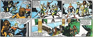 Flash Gordon - Alex Raymond's Flash Gordon (March 4, 1934). Flash and Thun rush to stop the wedding of Ming and Dale.