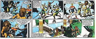 Flash Gordon - Alex Raymond's Flash Gordon (March 4, 1934). Flash and Thun rush to stop the wedding of Ming and Dale.