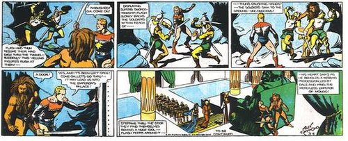 Flash and Thun rush to stop the wedding of Ming and Dale.An excerpt from the March 4, 1934 strip, very early in Alex Raymond's original run.
