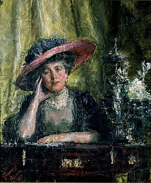 Florence, Lady Phillips - Lady Phillips 1909 Oil on canvas 89 x 75 cm by Antonio Mancini (1852 - 1930) Courtesy Johannesburg Art Gallery