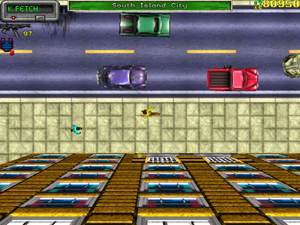 Grand Theft Auto (video game) - A still image of gameplay, showing the top down view in Liberty City