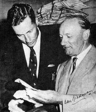 Trevor Goddard (cricketer) - Trevor Goddard (L) with Sir Donald Bradman