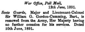 Sir William Gordon-Cumming, 4th Baronet - Image: Gordon Cumming dismissal from the Army