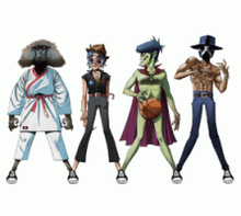 From left to right: James Murphy as a monkey in a karate outfit, 2D in a black outfit wearing a hat, Murdoc Niccals dribbling a basketball at the waist level, and Andre 3000 wearing a black mask