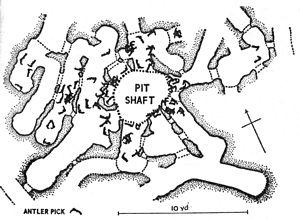 Grime's Graves - Plan of old shaft and galleries