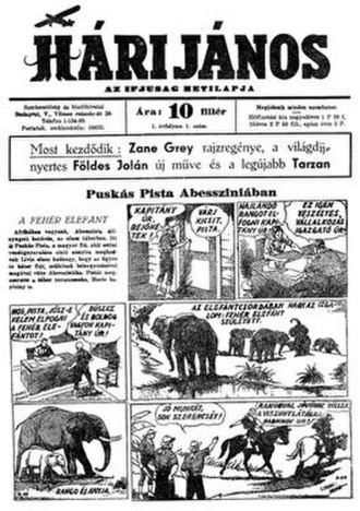 Hungarian comics - First issue of Hári János, with a page of Lyman Young's Tim Tyler's Luck translated as Puskás Pista