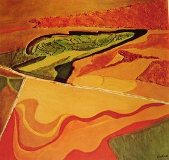 "Aerial landscape art - An artistic depiction of an aerial landscape: Jane Frank (Jane Schenthal Frank, 1918-1986), ""Aerial Series: Ploughed Fields, Maryland"", 1974, acrylic and mixed materials on apertured double canvas, 52""x48""."
