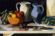 Oil painting showing a bowl of fruit, white jug and blue jug. They are painted in a slightly abstract manner rather than being realistic.