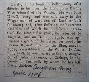 John Byron - John Byron Death Notice