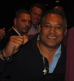 Juan Laporte - Former World Featherweight champion Juan LaPorte ringside during the boxing card at Resorts World Casino Aqueduct Raceway, Queens, New York, May 4, 2013